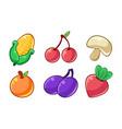 autumn season fruits and vegetables set corn vector image