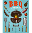 barbecue grill elements set isolated on blue vector image
