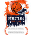 basketball game poster with ball vector image vector image