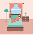 bedroom interior bed with furniture lamp tableside vector image