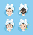 black mask treatment cute vector image vector image