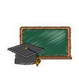 blackboard object with cap graduation design vector image vector image