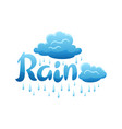 blue clouds and raindrops on white background vector image vector image