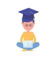 boy student with laptop graduation hat school vector image vector image
