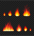 burning fire flames photo realistic set vector image
