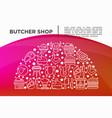 butcher shop concept in half circle vector image vector image