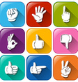 Buttons with different hand signs vector image vector image