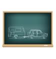 camp car drawn on blackboard vector image vector image