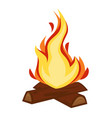 campfire or bonfire wood and flame stone age fire vector image