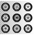 car wheels icons set vector image