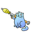 cat guards with a grenade launcher vector image