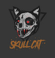 cat skull bloody vector image vector image