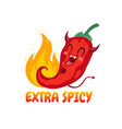 chilli pepper in kawaii style vector image