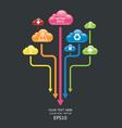 cloud color arrow graph vector image vector image