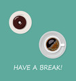 cup of coffee and donut isolated on blue vector image vector image