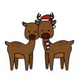 cute couple reindeer christmas characters vector image vector image