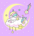 cute small kawai rainbow unicorn sleeping on a vector image
