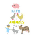 decorative print with farm animals and pets vector image