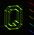 EPS10 glowing wireframe letter Q - easy to change vector image vector image