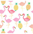 flamingo bird with pineapple tropical fruit vector image