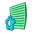 gear wheel and sheet paper icon cartoon vector image vector image