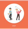 golf players cartoon characters tee stick vector image