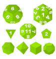 green polyhedron dice with numbers and empty vector image vector image