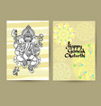 hindu god ganesha cards handwritten words happy vector image vector image