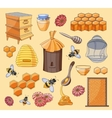 honey set design with apiary sketch elements vector image