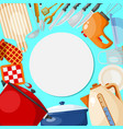 kitchen utensils and tools round vector image vector image