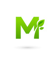 Letter M eco leaves logo icon design template vector image vector image