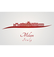 Milan skyline in red vector image vector image