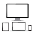 Monitor computer laptop phone tablet on a white vector image