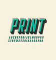 offset print style modern font design alphabet vector image vector image