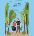 poster template with cute couple holding hands and vector image