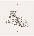 realistic leopard drawn vector image
