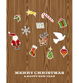 Retro wooden hanging Christmas set vector image
