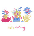 set bouquet flower in teapot set spring vector image