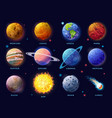 solar system planets set moon sun and comet icon vector image vector image