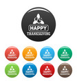 thanksgiving icons set color vector image vector image