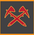 two crossed sharp viking axes vector image vector image