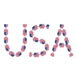 USA inscription made from flags in form of candies vector image vector image