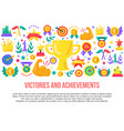 victories and achievements flat banner template vector image vector image