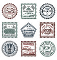 vintage car sport racing stamps set vector image vector image