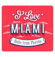 vintage greeting card from miami vector image vector image