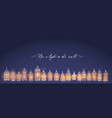 vintage lanterns on dark blue background vector image