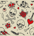 vintage tattoos seamless pattern vector image vector image
