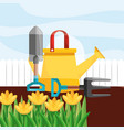 watering can shovel fork yellow flowers gardening vector image