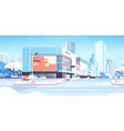 winter city snowy downtown street with skyscrapers vector image vector image