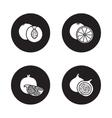 Fruits black icons set vector image